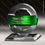 Crystal Green Accented Greenville Trophy Award Crystal-D Series Crystal Trophy Awards