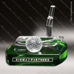 Crystal Green Accented Golf Putter Trophy Award Crystal-D Series Crystal Trophy Awards