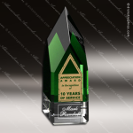 Crystal Green Accented Monolith Trophy Award Crystal-D Series Crystal Trophy Awards