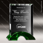 Crystal Green Accented Greenbury Trophy Award Crystal-D Series Crystal Trophy Awards