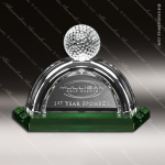 Crystal Green Accented Golf Pebble Beach Trophy Award Crystal-D Series Crystal Trophy Awards