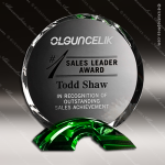 Crystal Green Accented Greenbriar Circle Trophy Award Crystal-D Series Crystal Trophy Awards