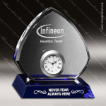 Crystal Clock Blue Accented Sebring Engravable Clock Award Crystal-D Series Crystal Trophy Awards
