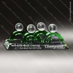 Crystal Green Accented Golf Foursome Trophy Award Crystal-D Series Crystal Trophy Awards