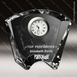Crystal Clock Silver Accented Fanfare Engravable Clock Award Crystal-D Series Crystal Trophy Awards