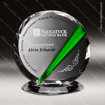 Crystal Green Accented Danbury Circle Trophy Award Crystal-D Series Crystal Trophy Awards