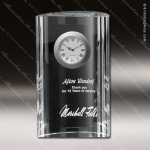 Crystal Clock Silver Accented Greenwich Engravable Clock Award Crystal-D Series Crystal Trophy Awards