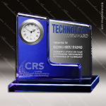 Crystal Clock Blue Accented Oxford Engravable Clock Award Crystal-D Series Crystal Trophy Awards