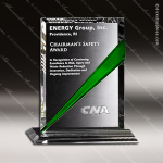 Crystal Green Accented Danbury Rectangle Trophy Award Crystal-D Series Crystal Trophy Awards