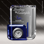 Crystal Clock Blue Accented Chesterfield Engravable Clock Award Crystal-D Series Crystal Trophy Awards