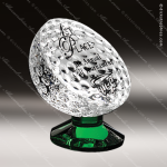 Crystal Green Accented Golf Fairway Trophy Award Crystal-D Series Crystal Trophy Awards