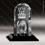 Crystal Black Accented Springfield Golf Trophy Award Crystal-D Series Crystal Trophy Awards
