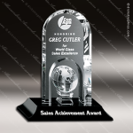 Crystal Black Accented Springfield Global Trophy Award Crystal-D Series Crystal Trophy Awards