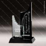 Crystal Black Accented Tuxedo Avalon Trophy Award Crystal-D Series Crystal Trophy Awards