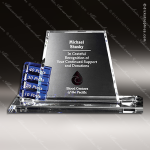 Crystal Blue Accented Alliance Goal-Setter Trophy Award Crystal-D Series Crystal Trophy Awards