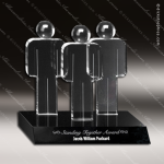Crystal Black Accented Unity Trophy Award Crystal-D Series Crystal Trophy Awards