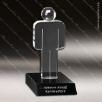 Crystal Black Accented Unity Figure Trophy Award Crystal-D Series Crystal Trophy Awards