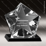 Crystal Black Accented Penta Star Trophy Award Crystal-D Series Crystal Trophy Awards