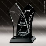 Crystal Black Accented Tuxedo Wave Trophy Award Crystal-D Series Crystal Trophy Awards