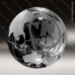 Crystal Clear Clipped Globe Trophy Award Crystal-D Series Crystal Trophy Awards