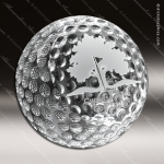Crystal Clear Clipped Golf Ball Trophy Award Crystal-D Series Crystal Trophy Awards