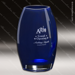 Crystal Blue Accented Cobalt Oval Vase Trophy Award Crystal-D Series Crystal Trophy Awards