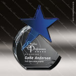 Crystal Blue Accented Cerulean Star Trophy Award Crystal-D Series Crystal Trophy Awards