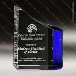 Crystal Blue Accented Faceted Wave Trophy Award Crystal-D Series Crystal Trophy Awards
