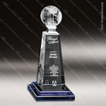 Crystal Blue Accented Horizon Global Trophy Award Crystal-D Series Crystal Trophy Awards