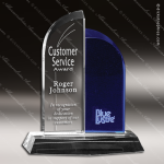 Crystal Blue Accented Brigadier Trophy Award Crystal-D Series Crystal Trophy Awards