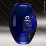 Crystal Blue Accented Cobalt Barrel Vase Trophy Award Crystal-D Series Crystal Trophy Awards