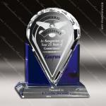 Crystal Blue Accented Distinction Trophy Award Crystal-D Series Crystal Trophy Awards