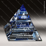Crystal Blue Accented Apogee Pyramid Trophy Award Crystal-D Series Crystal Trophy Awards