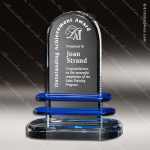 Crystal Blue Accented Pearl Lake Trophy Award Crystal-D Series Crystal Trophy Awards
