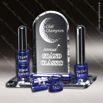 Crystal Blue Accented Guthrie Goal-Setter Trophy Award Crystal-D Series Crystal Trophy Awards