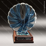 Artistic Blue Accented Art Glass Chesnutt Phoenix Trophy Award Crystal-D Series Crystal Trophy Awards