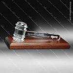 Crystal Clear Gavel on Royal Finish Base Engraved President Award Crystal-D Series Crystal Trophy Awards