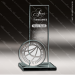 Crenshaw Double Glass Jade Accented Circle Rectangle Trophy Award Crystal-D Series Crystal Trophy Awards