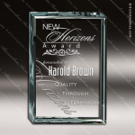 Crenshaw Square Glass Jade Accented Plaque Trophy Award Crystal-D Series Crystal Trophy Awards