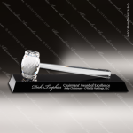 Crystal Black Accented Gavel Engraved President Award Crystal Gavel Awards