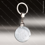 Laser Etched Engraved Keychain Crystal Round Silver Gift Award Crystal Keychains