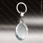 Laser Etched Engraved Keychain Crystal Oval Silver Gift Award Crystal Keychains