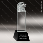 Crystal Black Accented Eagle Head Tower Trophy Award Crystal Sculpture Trophy Awards