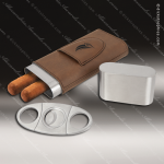 Embossed Etched Leather Cigar Case with Cutter -Dark Brown Dark Brown Leather Items