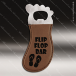 Embossed Etched Leather Magnetic Foot Shaped Bottle Opener Dark Brown Etche Dark Brown Leather Items