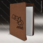 Embossed Etched Leather Portfolio With Zipper Dark Brown Gift Dark Brown Leather Items