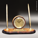 Desk Gift Burl Wood Gold Accented Clock With Double Pens Award Desk Clocks