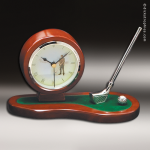 Desk Gift Cherry Gold Accented Golf Clock With Sinlge Pen Award Desk Clocks