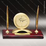 Engraved Rosewood Desk Clock Gold Accented Clock With Double Pen Award Desk Pen Sets