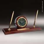 Desk Gift Walnut Finish Round Double Pen Engraved Clock Award Desk Pen Sets
